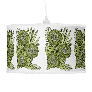 Acid Green Gerbera Daisy Flower Bouquet Pendant Lamp
