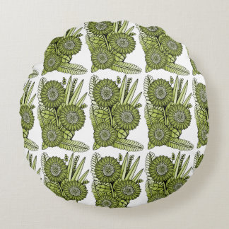 Acid Green Gerbera Daisy Flower Bouquet Round Pillow