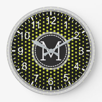 Acid Green Polka Dots Modern Monogram Large Clock