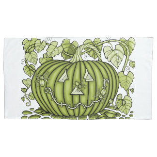 Acid-Green Spidery Pumpkin Pillowcase