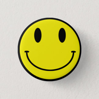 Acid Smiley Button Yellow