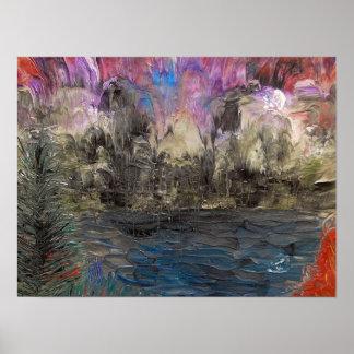 Acid washed landscape poster
