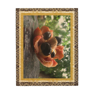 Ackee Fruit Family Wood Wall Art - Gold