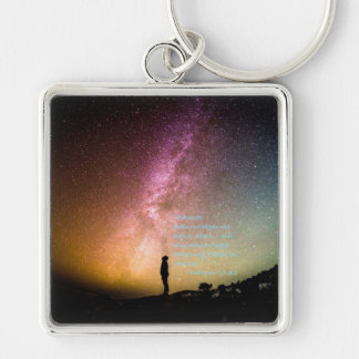"""""""Acknowledge Me"""" Silver-Colored Square Keychain"""