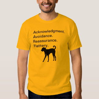 Acknowledgement. Avoidance. Reassurance. Flattery. Tees