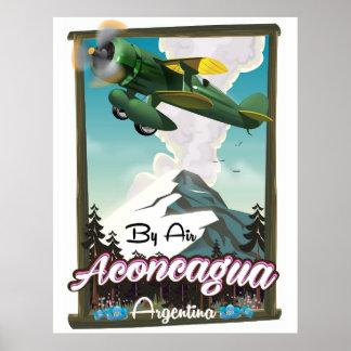 Aconcagua -Argentina vintage flight poster print.