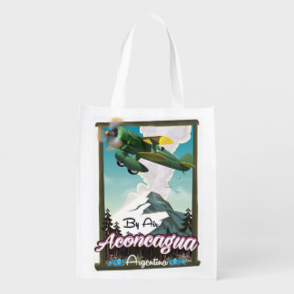 Aconcagua -Argentina vintage flight poster print. Reusable Grocery Bag