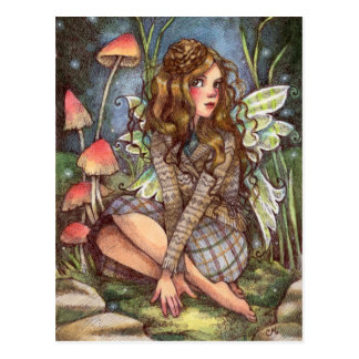 Acorn Beret - Fairy Art Postcard