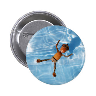 Acorn elf in the swimming pool 2 inch round button
