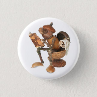 Acorn elf resting on the toilet 1 inch round button