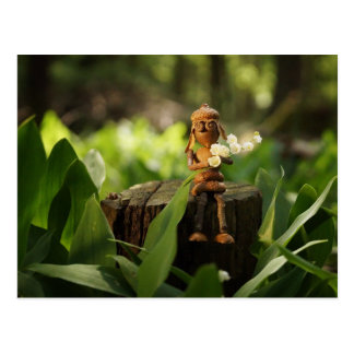 Acorn elf with lilies of the valley postcard