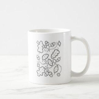 Acorn Gems Line Art Design Coffee Mug
