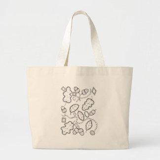 Acorn Gems Line Art Design Large Tote Bag