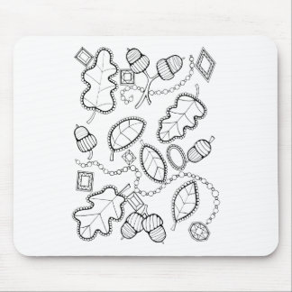 Acorn Gems Line Art Design Mouse Pad