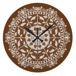 Acorn Mandala Large Clock