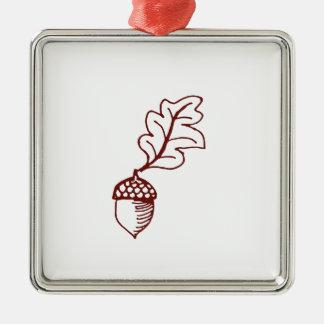 Acorn Silver-Colored Square Ornament