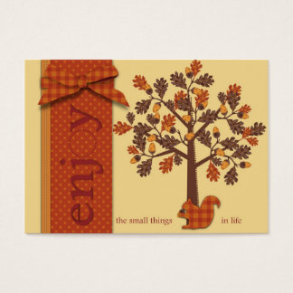 Acorn Tree with Squirrel for Thanksgiving Business Card