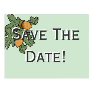 Acorn wedding save the date postcard