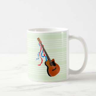 Acoustic Bass guitar, red white and blue ribbons Coffee Mug