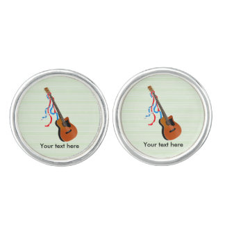 Acoustic Bass guitar, red white and blue ribbons Cuff Links