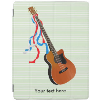 Acoustic Bass guitar, red white and blue ribbons iPad Cover
