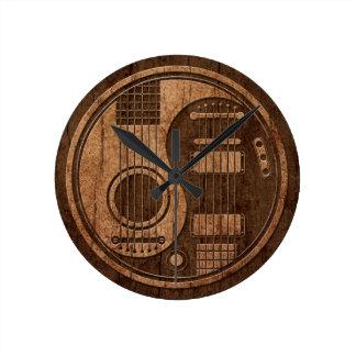 Acoustic Electric Guitars Yin Yang Wood Effect Wall Clock