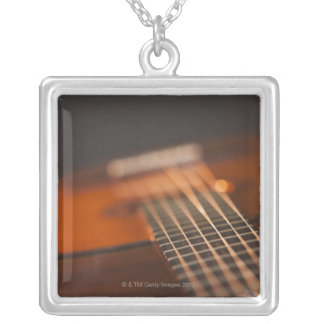 Acoustic Guitar 4 Silver Plated Necklace