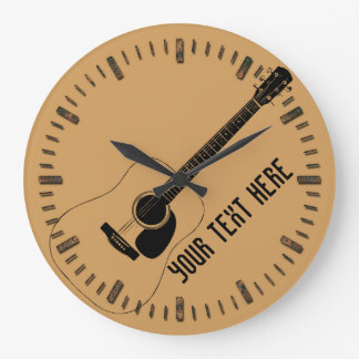 Acoustic Guitar And Your Own Text Large Clock