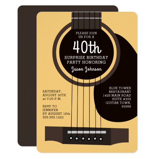 Acoustic Guitar Birthday Party Invitation