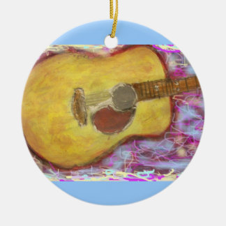 Acoustic Guitar Colours Round Ceramic Ornament