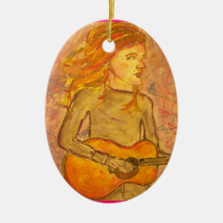 acoustic guitar drawing ceramic oval ornament