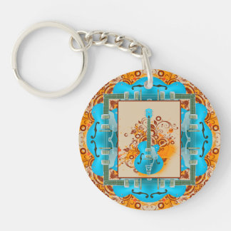 Acoustic Guitar Floral Grunge Vintage Double-Sided Round Acrylic Keychain