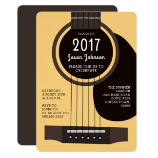 Acoustic Guitar Graduation Party Invitation