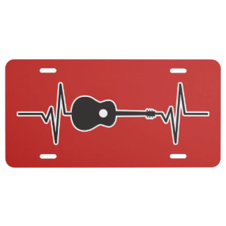 Acoustic Guitar - Heartbeat Pulse Graphic License Plate