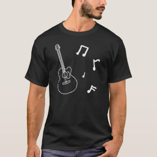 Acoustic Guitar in Black and White T-Shirt