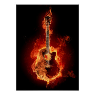 Acoustic Guitar in Flames Poster