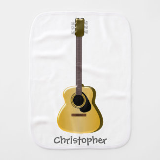 Acoustic Guitar Just Add Name Burp Cloth