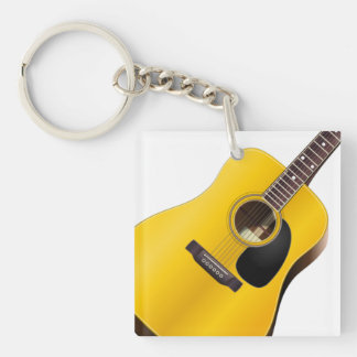 Acoustic Guitar Music Theme Optional Phone Number Acrylic Keychains