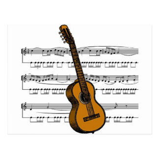 Acoustic Guitar musical 07 B Postcard