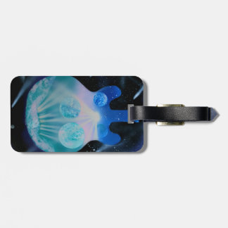 acoustic guitar painting blue pink teal planets luggage tag