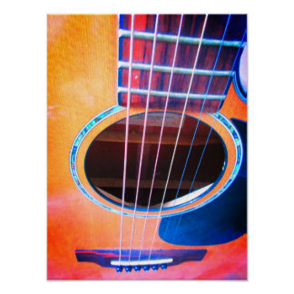 Acoustic Guitar Perspective Colors of Music Poster