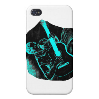 acoustic guitar player invert black turqoise iPhone 4/4S cover