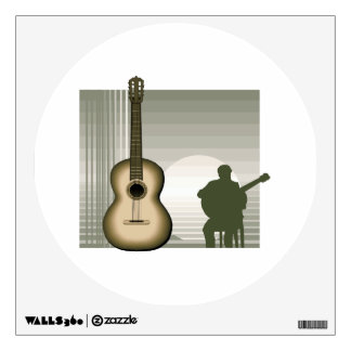 acoustic guitar player sitting brown.png wall decal