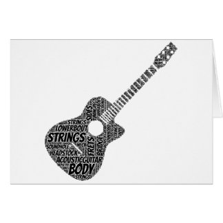 Acoustic Guitar Shaped Word Art Black Text Card