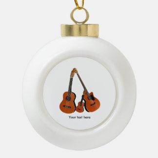 Acoustic Guitar Ukulele and Acoustic Bass Ceramic Ball Christmas Ornament
