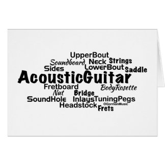 Acoustic Guitar Word Cloud Black Text Card