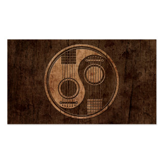 Acoustic Guitars Yin Yang with Wood Grain Effect Business Cards