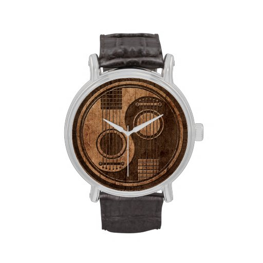 Acoustic Guitars Yin Yang with Wood Grain Effect Wrist Watches