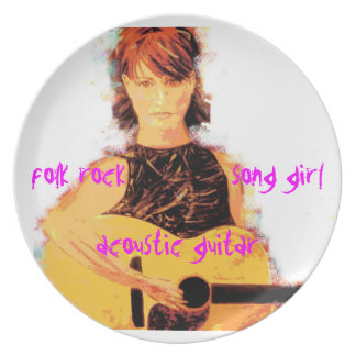 acoustic song girl art party plates