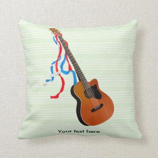 Acoutic Bass Guitar American Music Throw Pillow